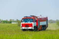 BORYSPIL, UKRAINE - MAY, 20, 2015: Fire-brigade on Royalty Free Stock Images