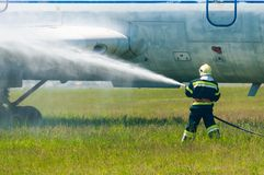 BORYSPIL, UKRAINE - MAY, 20, 2015: Firefighters Royalty Free Stock Photography
