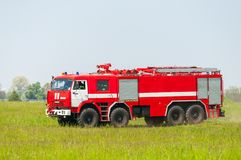 BORYSPIL, UKRAINE - MAY, 20, 2015: Red firetruck Royalty Free Stock Image