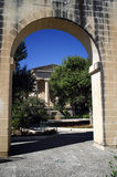 Borza Ta Malta,Valletta,Malta. Through arches, Upper Barracca Gardens Royalty Free Stock Photography