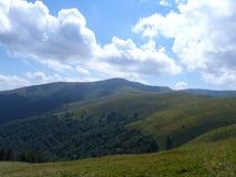 Borzhava bergskedja av de ukrainska Carpathiansna i den Transcarpathian regionen ukraine Sommar 2016 Arkivfoton