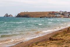 Bosättning på kusten av Lake Baikal arkivfoton