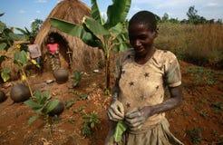 Bosöttt av en koja i Burundi. royaltyfri fotografi
