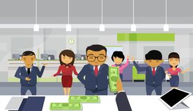 Bos Business Man Hand Give Money To Team Of Asian Businesspeople Pay Salary To Employee Workers Group. Flat Vector Illustration Royalty Free Stock Image