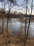 Bos, de herfst, gevallen bladeren, rivier, aard royalty-vrije stock afbeeldingen