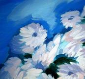 Bos die van bloemen, op een canvas schilderen royalty-vrije illustratie