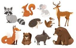 Bos dierlijke reeks Gekleurde dierlijke pictograminzameling Roofzuchtige en herbivoor zoogdieren Vlakke vectordieillustratie op w vector illustratie