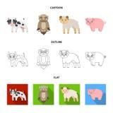 Bos, ecologie, speelgoed en ander Webpictogram in beeldverhaal, overzicht, vlakke stijl Dieren, landbouwbedrijf, ondernemingenpic Stock Fotografie