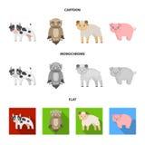 Bos, ecologie, speelgoed en ander Webpictogram in beeldverhaal, vlakke, zwart-wit stijl Dieren, landbouwbedrijf, ondernemingenpic Royalty-vrije Stock Foto's