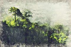 Bos en berg in de Mist Digitaal Art Impasto Oil Paintin royalty-vrije stock foto