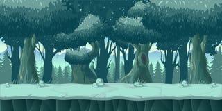 Bos en van het Stenen 2d spel Landschap voor spelen mobiele toepassingen en computers Het schrijven grootte royalty-vrije illustratie