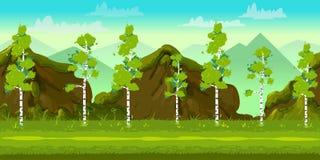 Bos en van het Stenen 2d spel Landschap voor spelen mobiele toepassingen en computers Vector illustratie voor uw zoet water desig stock illustratie