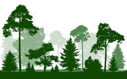 Bos groene die silhouetvector, op witte achtergrond wordt geïsoleerd vector illustratie