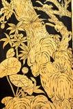 Bos in het traditionele Thaise stijl schilderen Stock Foto's