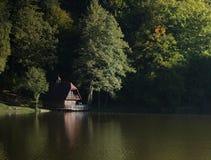 Bos meer en plattelandshuisje Royalty-vrije Stock Foto's
