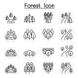 Bos, meer, rivier, park, landschapspictogram dat in dunne lijnstijl wordt geplaatst stock illustratie