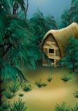 Bos plattelandshuisje stock illustratie