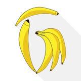 Bos van bananen die op wit worden geïsoleerdh Royalty-vrije Stock Foto