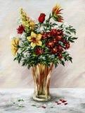Bos van bloemen in een glasvaas vector illustratie
