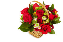 Bos van bloemen in mand Stock Foto