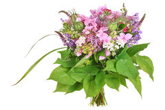 Bos van bloemen met hydrangea hortensia en lavendel Royalty-vrije Stock Fotografie