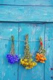 Bos van de drie de medische kruidenbloem op houten deur stock afbeeldingen