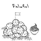 Bos van Falafel-Ballen met Vlag, Arugula Herb Leaves en Saus De keuken van het Middenoosten Israel Vegetarian Healthy Fast Food J vector illustratie