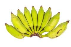 Bos van groene bananen op witte achtergrond Stock Foto's