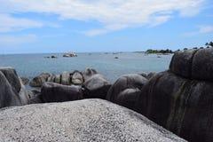Bos van het grote rotsen onder ogen zien van blauwe overzees en blauwe heldere hemel royalty-vrije stock afbeelding