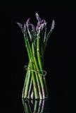Bos van kleurrijke asperge op zwarte achtergrond, Gastronomisch concept Royalty-vrije Stock Afbeelding