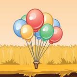 Bos van kleurrijke ballons, illustratie Stock Afbeelding