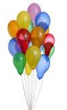 Bos van kleurrijke heliumballons met weg Royalty-vrije Stock Foto