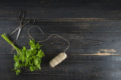 Bos van peterselie op donkere houten achtergrond Stock Fotografie