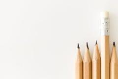 Bos van potloden met gom die omhoog duidelijk uitkomen Royalty-vrije Stock Afbeelding