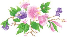 Bos van roze bloemen stock illustratie