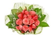 Bos van roze die rozen op wit worden geïsoleerd Stock Afbeeldingen