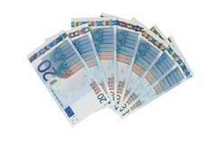 Bos van twintig euro rekeningen Stock Foto