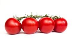 Bos van verse tomaten Geïsoleerdj op witte achtergrond Stock Afbeeldingen