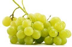 Bos van verse witte druiven op wit Stock Afbeelding