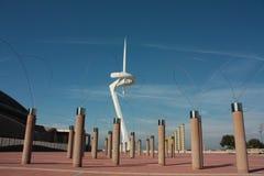 Bos van vreemde bomenartifi & toren Calatrava Royalty-vrije Stock Afbeeldingen