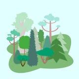 Bos in vlakke stijl Stock Afbeeldingen