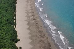 Bos, zand en blauw oceaanwater Mening van het wilde strand royalty-vrije stock foto's