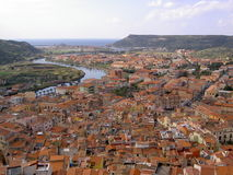 Bosa. Picture of the town of Bosa at Sardinia (Italy Royalty Free Stock Images