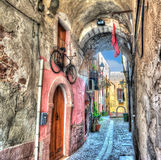 Bosa backstreet in hdr tone mapping Royalty Free Stock Photos