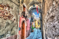 Bosa backstreet in hdr tone mapping Royalty Free Stock Images
