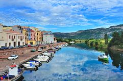 Bosa and river Temo in Sardinia royalty free stock image