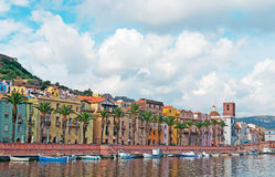 Bosa riverfront with boats Royalty Free Stock Photos