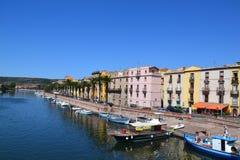 Bosa stad i Sardinia, Italien Fotografering för Bildbyråer