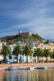 View of Bosa and fort from the river, Sardinia, Italy Stock Images