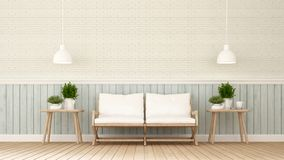 Bosatt område i vardagsrummet eller coffee shop - 3D stock illustrationer